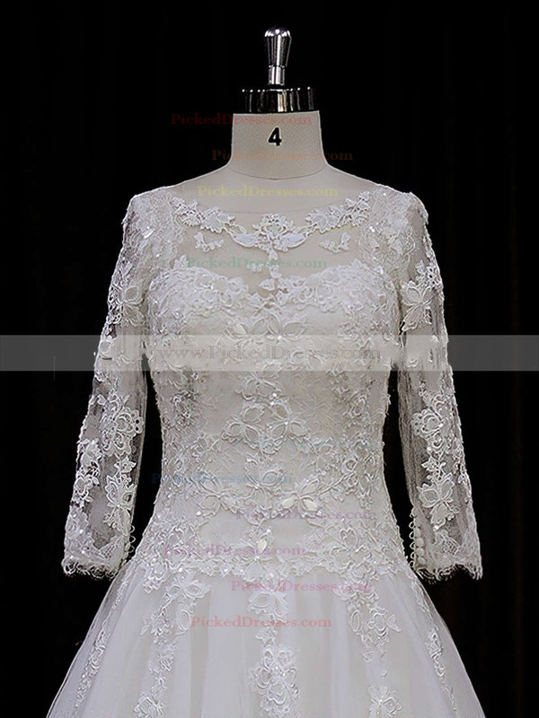 Chapel Train Ivory Tulle Appliques Lace 3/4 Sleeve Scoop Neck Wedding Dress #PDS00021788