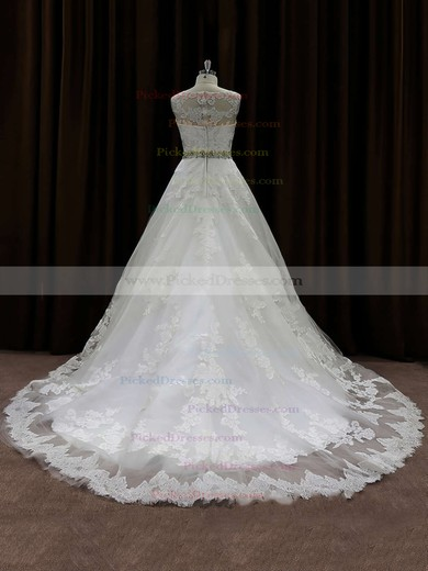 Pretty Scoop Neck Lace Beading Chapel Train Ivory Wedding Dress #PDS00021791