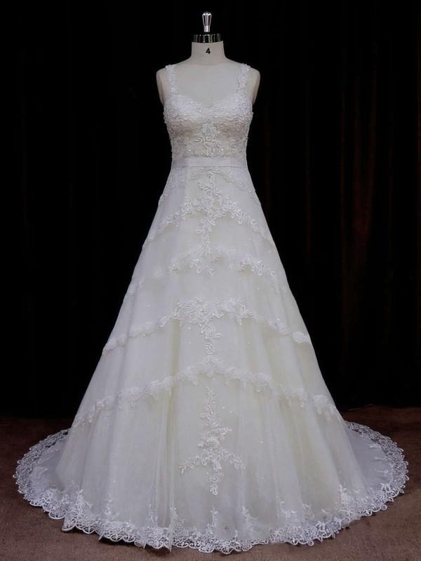 Sweetheart Ivory Tulle Appliques Lace Court Train Unique Wedding Dress #PDS00021796