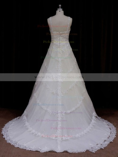 Sweetheart Ivory Tulle Appliques Lace Court Train Unique Wedding Dress #PDS00021796