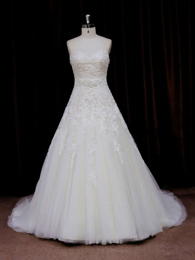 Beautiful Princess Sweetheart Sashes / Ribbons Ivory Tulle Wedding Dress #PDS00021797