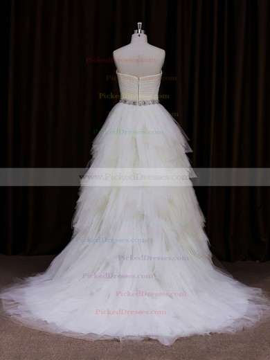 Elegant Sweetheart Tiered Ivory Tulle Court Train Wedding Dress #PDS00021799