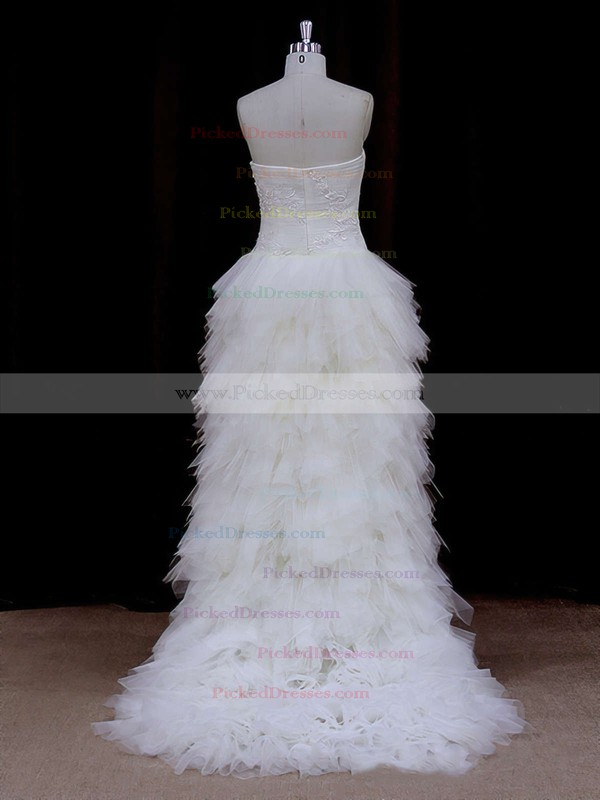 Asymmetrical Ivory Tulle Appliques Lace High Low Strapless Wedding Dress #PDS00021802