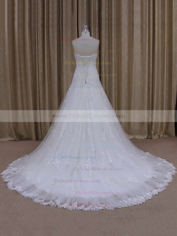 Unique Sweetheart Ivory Tulle Appliques Lace Court Train Wedding Dress #PDS00021803