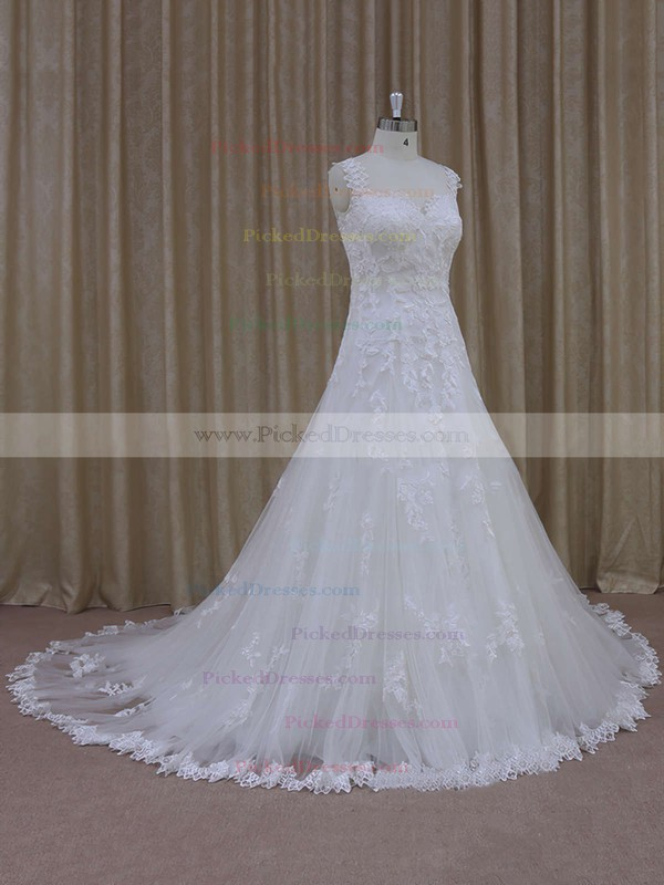 Ivory Court Train Tulle with Appliques Lace Modest Sweetheart Wedding Dress #PDS00021805