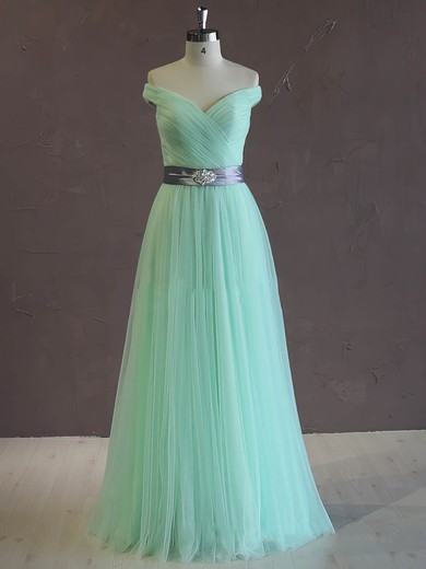 Unique A-line Green Tulle Sashes/Ribbons Off-the-shoulder Wedding Dress #PDS00021806