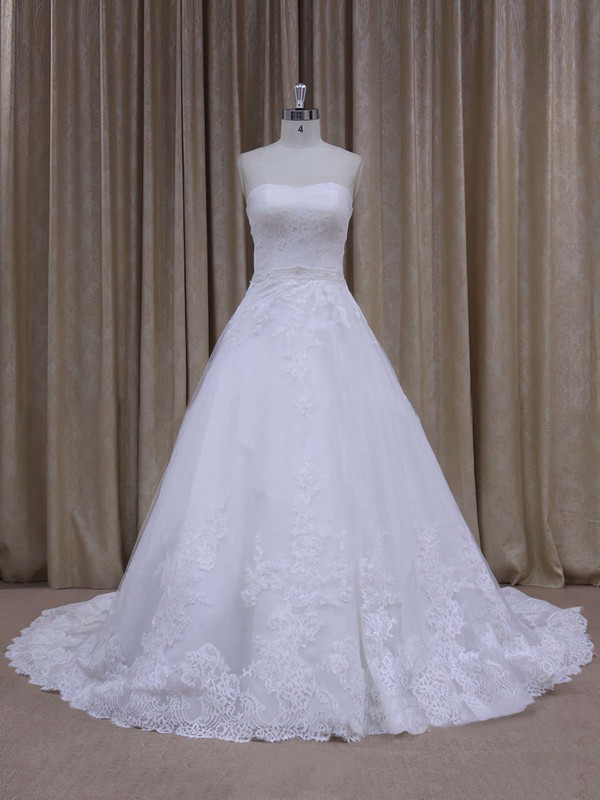 Discount Chapel Train White Tulle Appliques Lace Strapless Wedding Dress #PDS00021808