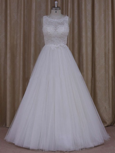 Princess Ivory Tulle Scoop Neck Appliques Lace Pretty Wedding Dress #PDS00021812