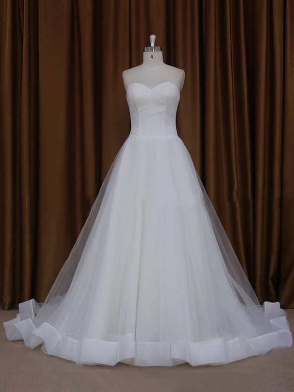 Ball Gown Ivory Tulle Appliques Lace Chapel Train Wedding Dress #PDS00021813