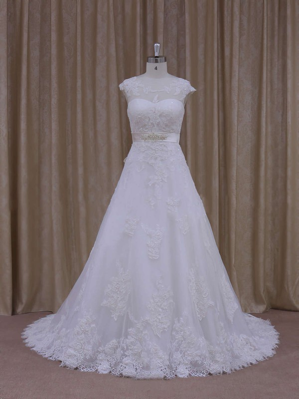 White Scoop Neck Tulle Appliques Lace Affordable Chapel Train Wedding Dress #PDS00021814