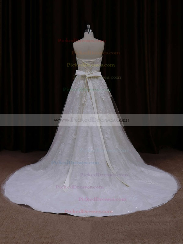 Court Train Ivory Beautiful Tulle Appliques Lace A-line Wedding Dress #PDS00021815