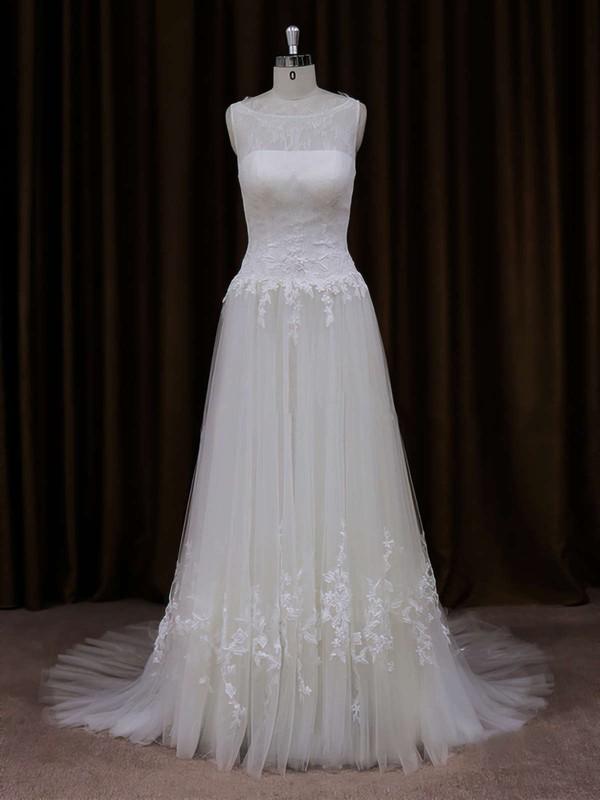 Cheap Scoop Neck Ivory Tulle Appliques Lace Court Train Wedding Dress #PDS00021819