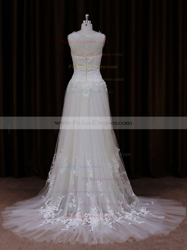 Cheap Scoop Neck Ivory Tulle Appliques Lace Court Train Wedding Dress #PDS00021819