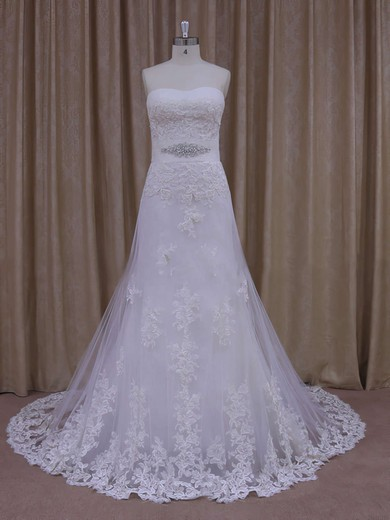 Sweep Train Appliques Lace Strapless White Tulle Affordable Wedding Dresses #PDS00021822