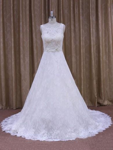 Best Scoop Neck Appliques Lace Court Train White Lace Wedding Dress #PDS00021828