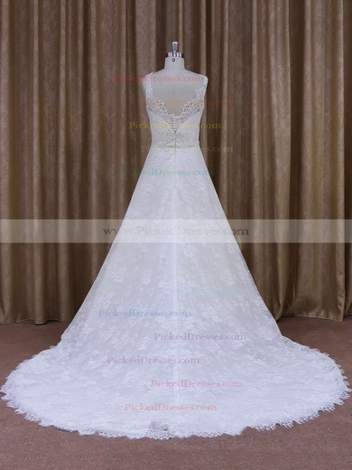 Best Scoop Neck Appliques Lace Court Train White Lace Wedding Dress #PDS00021828