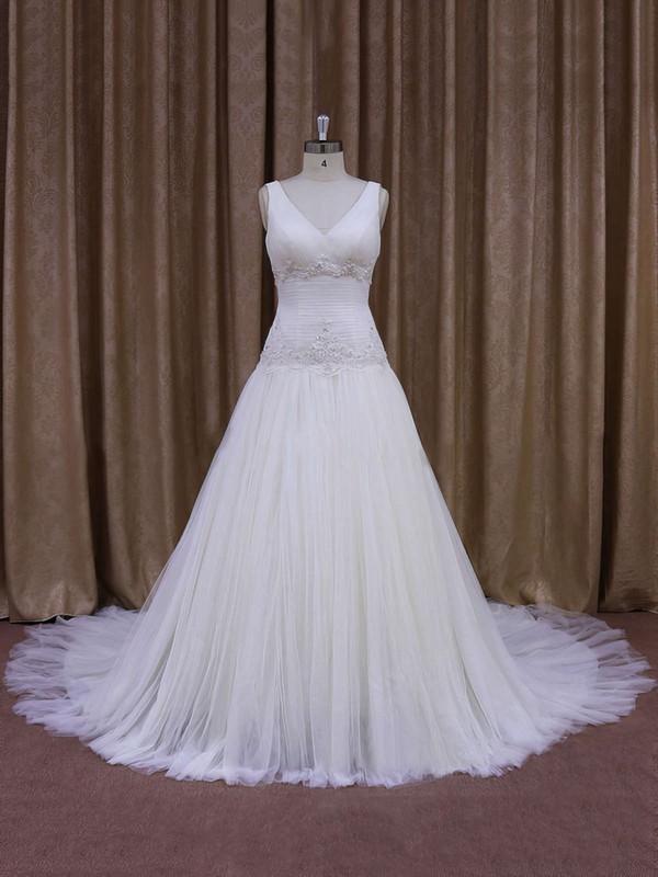 Ivory Tulle Chapel Train Appliques Lace V-neck Discount Wedding Dress #PDS00021831