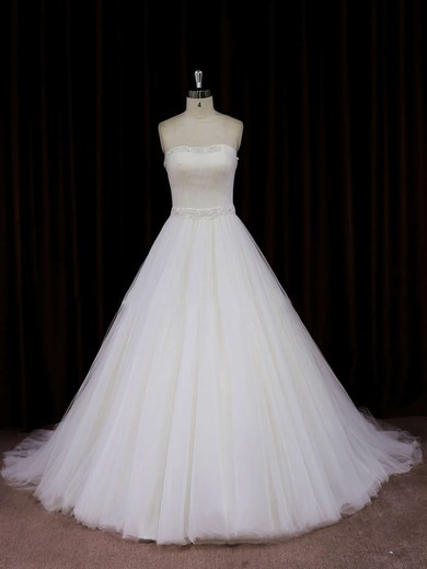 Ivory Tulle Chapel Train Beading Strapless Beautiful Wedding Dress #PDS00021833
