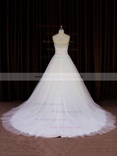 Ivory Tulle Chapel Train Beading Strapless Beautiful Wedding Dress #PDS00021833