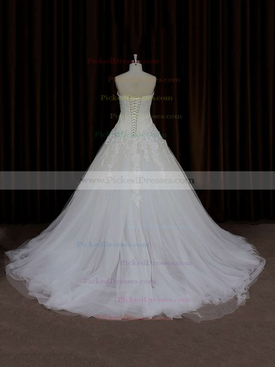 Ball Gown Ivory Tulle Lace-up Court Train Appliques Lace Wedding Dress #PDS00021835