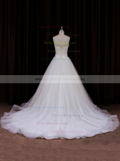 Modest Sweetheart Tulle with Sashes/Ribbons Chapel Train Ivory Wedding Dresses #PDS00021840