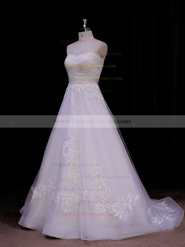 Princess Appliques Lace Sweetheart Ivory Organza Wedding Dresses #PDS00021848
