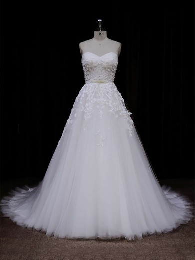 Ivory Tulle Appliques Lace Sweetheart Lace-up Elegant Wedding Dress #PDS00021849
