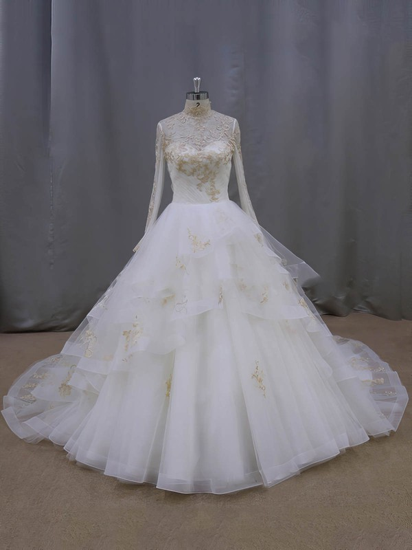 Ball Gown Tulle Appliques Lace Fashion High Neck Long Sleeve Wedding Dresses #PDS00021852