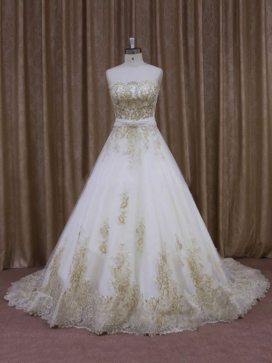 Court Train Tulle Appliques Lace Ivory Strapless Newest Wedding Dresses #PDS00021854