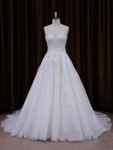 Sweetheart Tulle with Appliques Lace Popular Ivory Court Train Wedding Dress #PDS00021855