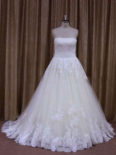 Boutique Strapless Tulle Lace-up with Appliques Lace Ivory Wedding Dresses #PDS00021856