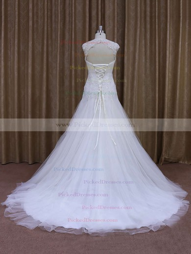 White Tulle Sweetheart Appliques Lace Court Train Popular Wedding Dress #PDS00021857