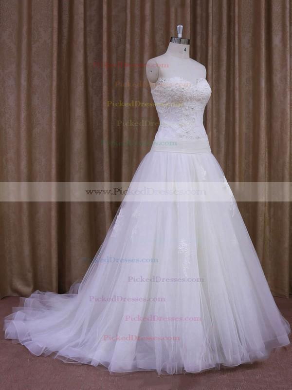 A-line Appliques Lace Ivory Tulle Court Train Online Wedding Dresses #PDS00021859