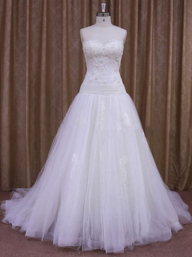 A-line Appliques Lace Ivory Tulle Court Train Online Wedding Dresses #PDS00021859