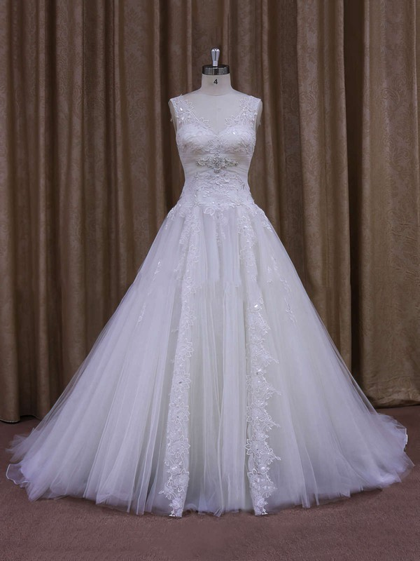Fashionable Chapel Train Appliques Lace White Tulle V-neck Wedding Dress #PDS00021860