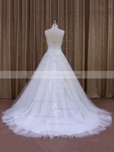 Fashionable Chapel Train Appliques Lace White Tulle V-neck Wedding Dress #PDS00021860