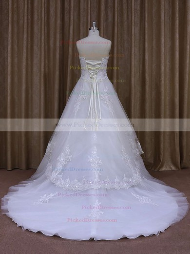 New Strapless Appliques Lace White Tulle A-line Wedding Dresses #PDS00021864