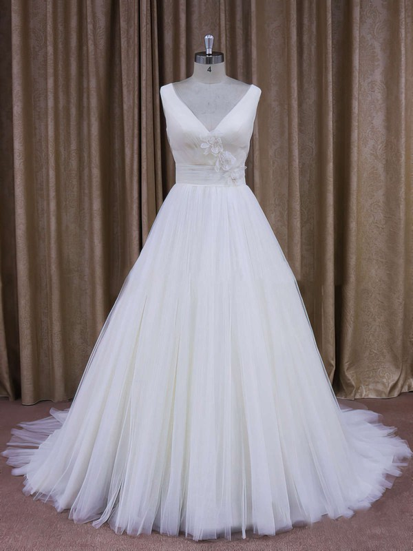 Affordable Court Train Tulle with Flower(s) Ivory V-neck Wedding Dresses