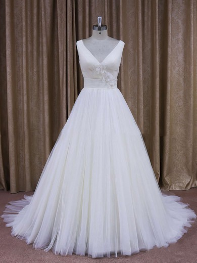 Affordable Court Train Tulle with Flower(s) Ivory V-neck Wedding Dresses #PDS00021868