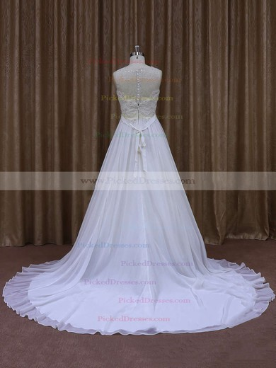 White Chapel Train Chiffon with Sashes/Ribbons Scoop Neck Wedding Dresses #PDS00021871