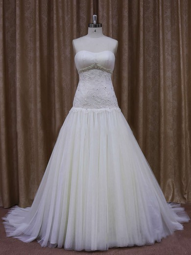 Inexpensive Ivory Court Train Tulle Appliques Lace Sweetheart Wedding Dresses #PDS00021873
