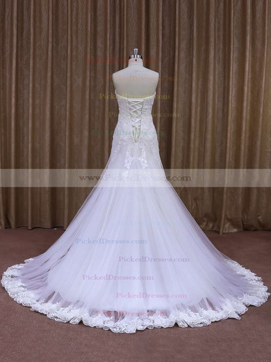 White Sweetheart Tulle with Appliques Lace Trumpet/Mermaid Wedding Dresses #PDS00021874