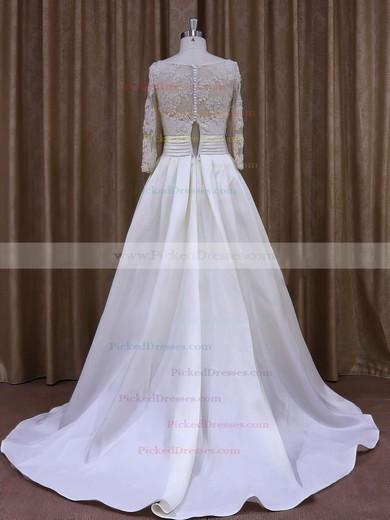 Nice Scoop Neck Ivory Taffeta with Appliques Lace Long Sleeve Wedding Dress #PDS00021877