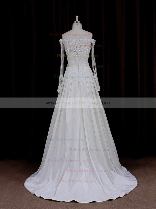 Long Sleeve Off-the-shoulder Simple Taffeta Appliques Lace Ivory Wedding Dresses #PDS00021883