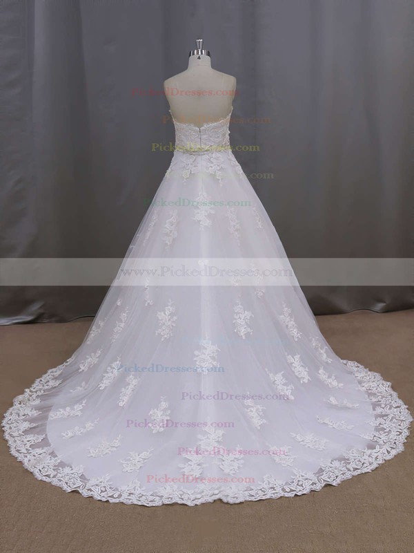 Ivory Court Train Tulle Appliques Lace Wholesale Sweetheart Wedding Dresses #PDS00021886