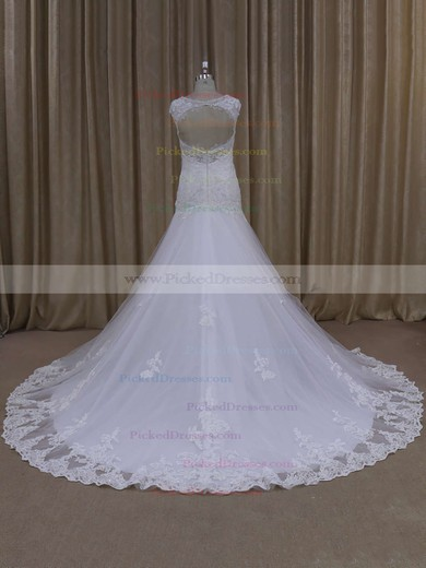 Sweetheart White Lace Tulle Appliques Open Back Trumpet/Mermaid Wedding Dresses #PDS00021895