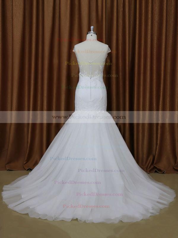 White V-neck Tulle Appliques Lace Cap Straps Trumpet/Mermaid Wedding Dresses #PDS00021899