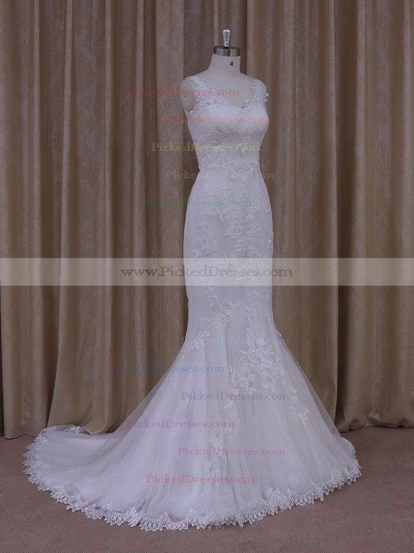 Ivory V-neck Tulle with Appliques Lace Trumpet/Mermaid Popular Wedding Dresses #PDS00021912