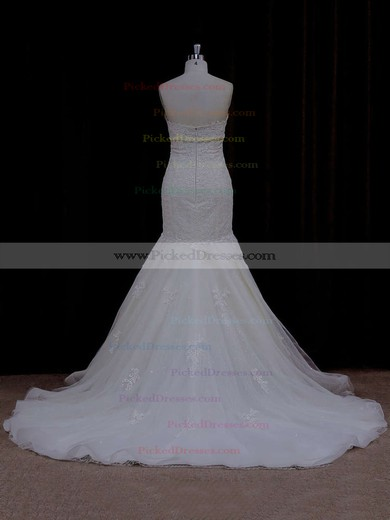 Vintage Ivory Lace Tulle with Beading Sweetheart Trumpet/Mermaid Wedding Dress #PDS00021915