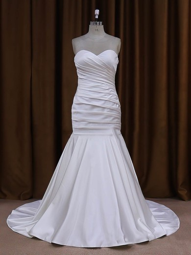 Sweetheart Ivory Ruffles Taffeta with Button Trumpet/Mermaid Wedding Dresses #PDS00021916